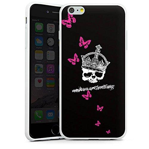 Apple iPhone X Silikon Hülle Case Schutzhülle Totenkopf Skull Krone Silikon Case weiß
