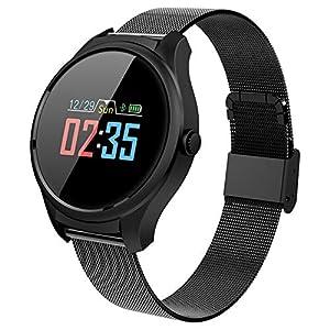 B35 Runde Smartwatch, wasserdichter Fitness Tracker, Blutdruck-Sauerstoffmessgerät, Kalorien- / Schrittzähler, für Männer, Frauen, Outdoor-Sportuhr für Android und iOS