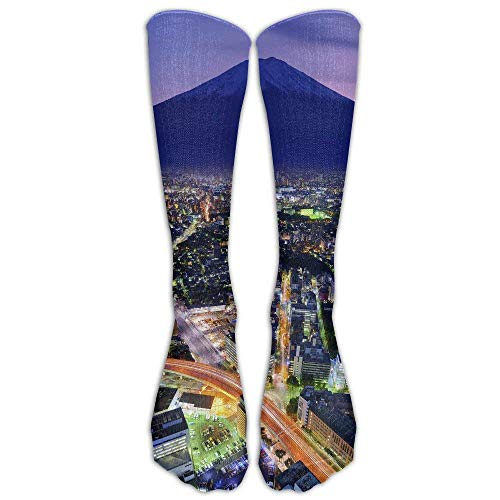 (Mt. Fuji And Yokohama Japan Financial City Athletic Tube Stockings Women Men Classics Knee High Socks Sport Long Sock One Size)