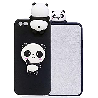 iPhone 5s Cover Black, Aeeque iPhone SE 3D Ultra Slim Thin Soft Crystal TPU Silicone Flexible Back Bumper [Shock Absorption] Protection Case for iPhone 5/5s/SE - Cute Animal Panda