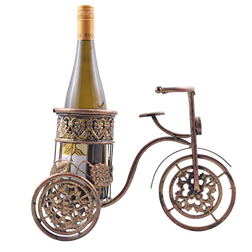 SRI Creative Vintage Bicycle Golden Copper Metal Wine Bottle Holder/ Wine Rack