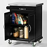 SoBuy® Luxus-Küchenwagen mit Edelstahltop, Küchenschrank, Kücheninsel,Schwarz, B66xT46XH92cm FKW13-SCH - 4