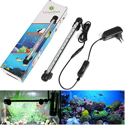 GreenSun LED Lighting 28cm Blau & Weiß Leuchte Aquarium Beleuchtung 15x 5050SMD Lampe wasserfest Unterwasserlicht langsames Aufleuchten Deko für Aquarium Fische Tank (Fisch Aquarium Lampe)