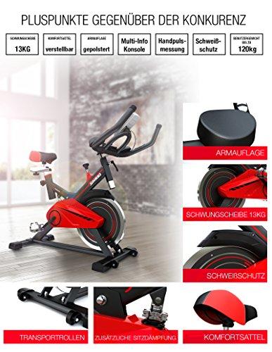 Sportstech Profi Indoor Cycle SX100 mit 13KG Schwungrad, gepolsterter Armauflage, Komfortsattel mit Sitzfederung, Pulsmessung – Speedbike mit flüsterleisem Riemenantrieb – Bodenschutzmatte gratis - 4