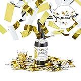 Relaxdays 10021770 Bottiglia di Champagne Spara-Coriandoli, Argento-Oro, Matrimonio, Compleanno, 31 cm