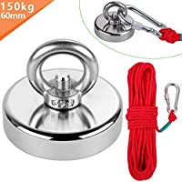 Anpro Round Neodymium Eyebolt Fishing Magnet with 66ft Red Rope, Super Power N52 Pulling Force 330LB(150KG), Perfect for Magnet Fishing and Salvage in River
