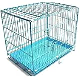 MR OREO 24-inch Iron and Plastic Cage with Removable Tray for Dogs and Rabbits (Blue)
