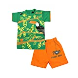 Kid's Care Funky Printed T-Shirt And Half Pant Set For Baby Boys(Green)