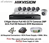#9: Hikvision Full HD (2MP) 6 CCTV Cameras & 8 Ch.Full HD DVR Kit (All Accessories)