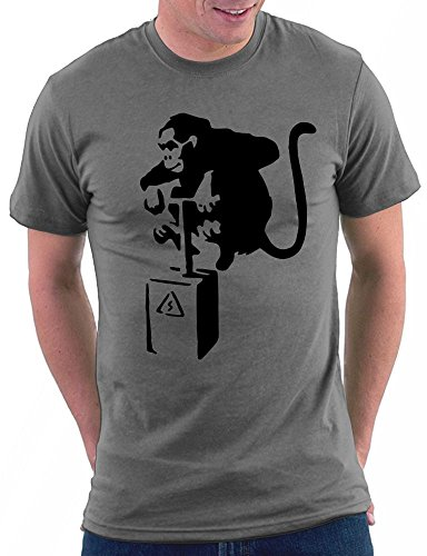 Banksy Detonator Monkey Road T-shirt Darkgrey