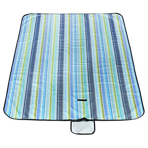 Wuudi Wasserdicht Strand Decke/Picknickdecke Mat, Outdoor, Camping Decke, Sand, Faltbar, Alle Zweck Oxford Stoff Matte mit Aufbewahrungstasche, Streifen