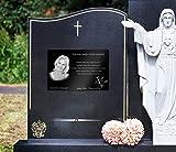 CHRISCK design Grabstein Gedenkstein aus hochwertigem Hochglanz Acrylglas (bruchsicher/wetterfest) Grabplatte mit Gravur/Fotogravur ab 20x15 cm cm Gedenktafel für Menschen Andenken Außenbereich - 2