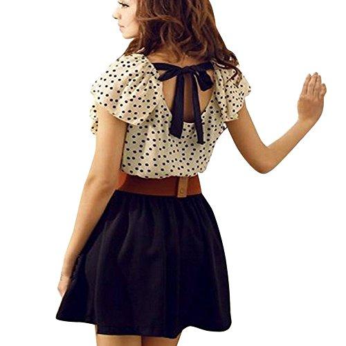 on Sommerkleid,Kurzarm Rock Mädchen Hemdkleid Blusekleid Punkte Polka Drucken Kleider Frauen Mode Kleid Minikleid Knielang Kleidung Abendkleider Partykleid (S, Weiß) (Günstige Mädchen Kleider)