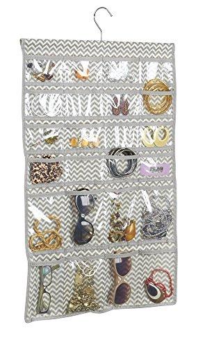 mDesign - Estuche colgante, organizador de bijouterie; organiza anillos, aros, pulseras, collares, baberos–48BOLSILLOS–Natural