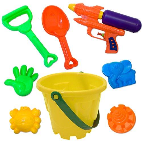 (HomeTools.eu - Sandkasten Strand Spielzeug   Eimer + Schaufel, Rechen, Sand-Formen + Wasser-Pistole , Spritz-Pistole   Gelb, 8-teilig Set)