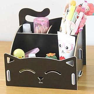CellCase Wooden DIY Assemble Cute Cat Pen Pencil Storage Box Cosmetic Holder Desktop Organizer for Home Office (Black)