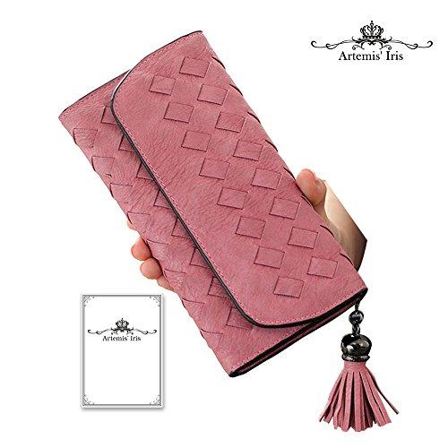 Artemis'Iris multifunzione Cards Holder denaro frizione a mano tessuto di cuoio sintetico di borsa Portafoglio Con Porta Carte staccabile, verde pink