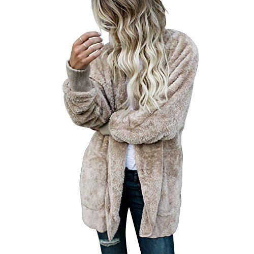 LAEMILIA Damen Jacke in Felloptik Mantel mit Kapuzen Lang Cardigan Pelz Fell Hooded Warm Elegant Wintermantel Kunstpelz Weich Coat Jack