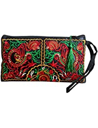 Ethnic Style Embroidery Canvas Handbag Purse Wallet Zipper Pocket Bag With Coin Pocket And Strap For Women Girls