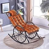 Coussin chaise berçante épaississement inclinable épaississement chaise berçante en peluche chaise berçante épaississement fauteuil facile en peluche or kaki 125 * 46