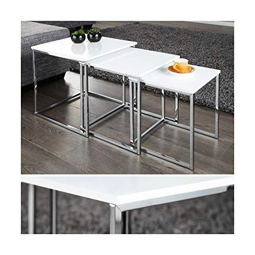 Lnxp Designer Couchtisch Tisch Beistelltisch Zigon 3er Set Chrom in Weiß Hochglanz Elegant