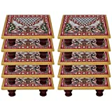 White Box Marble Puja Chowki Set Of 10 For Gift Item :- 4x4 Inch