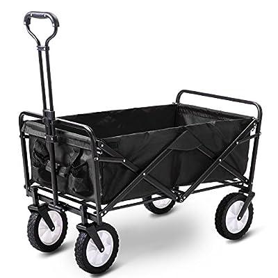LIFE CARVER Garden Cart Foldable Pull Wagon Hand Cart Garden Transport Cart Collapsible Portable Folding Cart
