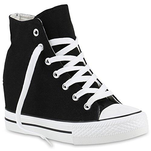 Stiefelparadies Donna Sneakers con Zeppa Alta 139809 Nero 37 Flandell