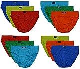 12 Herren Sport - Slips in klassischen Farbkombinationen mit & ohne Eingriff 100% Baumwolle 12er Spar Pack Slip Herrenslip Jungen Man M L XL 2XL 3XL 4XL,Set F,7/XL