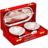 MACHAK Indian Craftvilla Handmade Silver Plated Brass Bowl with Tray -Set of 5 Pieces