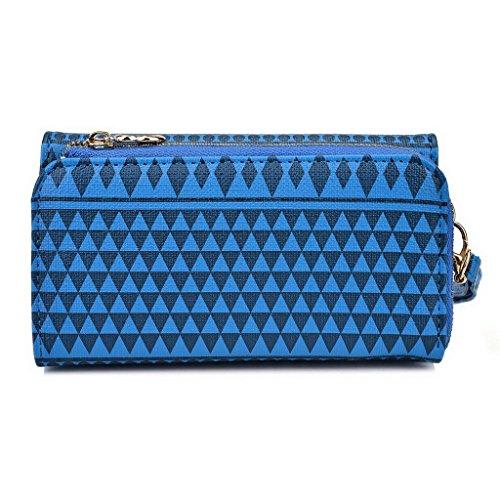 Kroo Pochette/étui style tribal urbain pour Samsung Galaxy Trend Plus White and Orange bleu marine