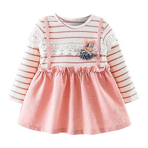 OVERDOSE Kleinkind Baby Kind Mädchen Langarm Gestrickte Bogen Neugeborenen Tutu Prinzessin Kleid 0-24 Monate (6-12 Monate, E-Pink)
