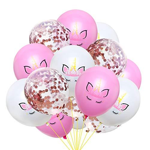 EVEYYQIU Die neuesten 12-Zoll-Einhorn Pailletten Konfetti Latex Ballon Set Geburtstagsfeier Dekoration, 5 weiß + 5 Pulver + 5 Roségold Konfetti Paket 2 -
