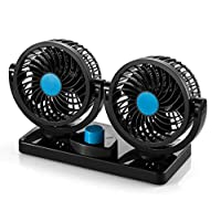 12V DC Electric Car Fan - Rotatable 2 Speed Dual Blade with 9FT Cord Quiet Strong Dashboard Cooling Fan