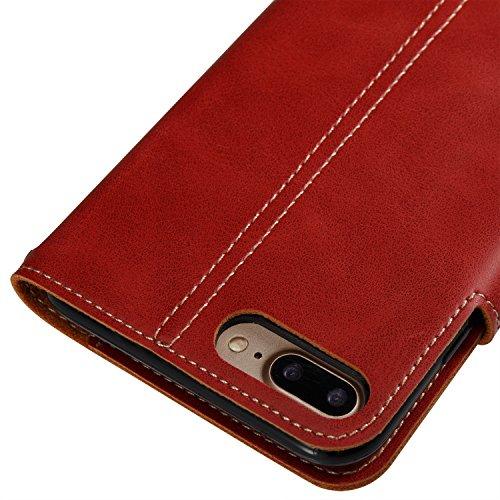 GrandEver iPhone 8 Plus Hülle, iPhone 7 Plus Hülle Gute Qualität Lederhülle Schutzhülle mit Kartenfach Handschlaufe Ledertasche Retro Tasche Scratch PU Leder Ledercase Schale Umschlag Stil Wallet Case Großes Rot