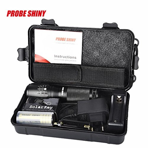 HCFKJ X800 Zoomable XML T6 LED Taktische Polizei Taschenlampe + 18650 Batterie + Ladegerät + - Led-taschenlampe Elektroschocker