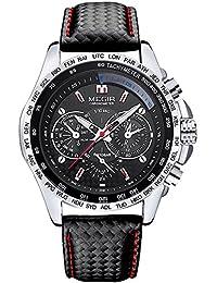 Megir - Reloj deportivo para hombre, estilo casual, analógico, con correa de piel, sumergible hasta 3 atm