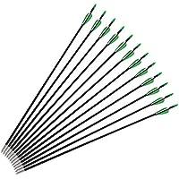GOTOTOP 12tlg. Pfeil 20/28/30/32 Zoll 7.6mm/8mm Carbon Pfeile Aluminiumlegierung Pfeile Fiberglaspfeil Bogenpfeile für Bogenbogenschießen Jagd Zielübungen