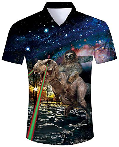 ALISISTER Hawaiihemd Herren Hemd Kurzarm 3D Galaxis Faultier Dinosaurier Drucke Ugly Aloha Blouse Button Hemden Sommer Urlaub Party Strandhemd Regular Slim Shirts - Lustige Dinosaurier Kostüm