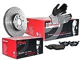 BREMBO SPORT XTRA LINE BREMSENSET VORNE mit 2x Bremsscheiben Gelocht, Beschichtet und Belüftet + 4x Bremsbelägen, inklusive Montagehandschuhe, Bremsensatz Scheibenbremse Bremsen Set, Bremskit, Bremsen