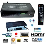 DECODER RICEVITORE DIGITALE TERRESTRE DVB-T2 TV SCART HDMI 1080P REG PVR HD immagine