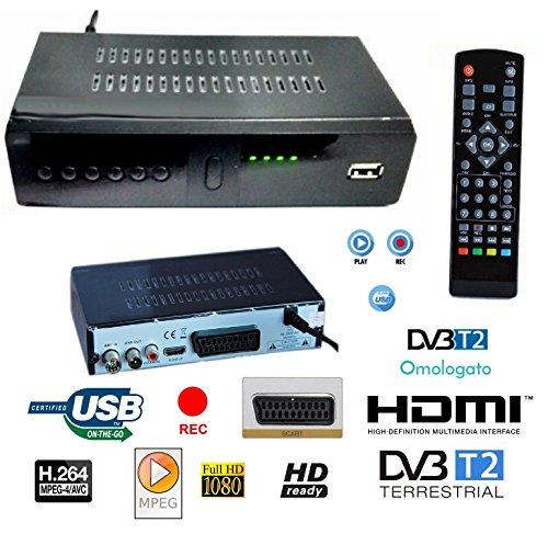 DECODER RICEVITORE DIGITALE TERRESTRE DVB-T2 TV SCART HDMI 1080P REG PVR HD