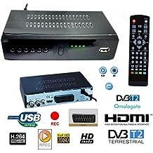 Decodificador receptor digital terrestre DVB-T2TV SCART HDMI 1080P Reg PVR HD