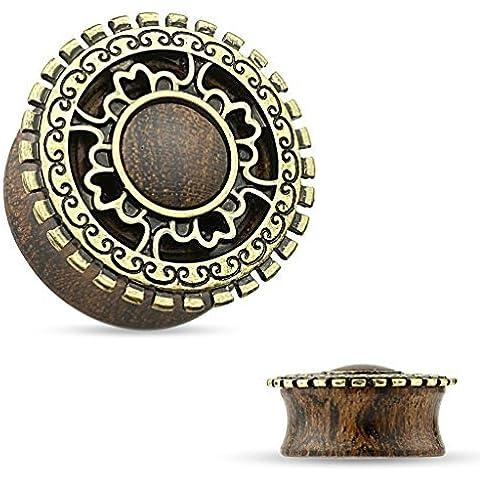 14mm oro antiguo chapado escudo tribal cubierto de madera orgánica sombreado Plug mejor calidad de madera natural pendiente túnel de carne