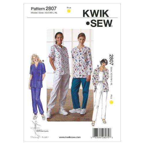 Kwik Sew Mustern k2807, Größe XS klein–mittel–groß–Extra große Scrubs, weiß, 1Stück