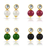 #9: 4 Pairs of Bright Elegant Different Colour Pearls Moti with Round Stone Earrings for Girls and Women