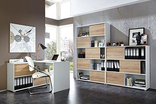 3-tlg. Büromöbel-Set: Eckschreibtisch 120 x 120 cm, Schiebetürenregal H: 196 cm, Schiebetürenregal H: 119 cm, in Weiß/Sonoma-Eiche Nachb.