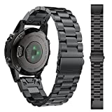 HappyTop Garmin fenix 5S Band de remplacement de dégagement rapide en acier inoxydable pour homme Bracelet Garmin Bandes, Homme, Noir
