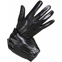 ZHGI Gli uomini di agnello di guanti in pelle e morbidi imbottiti di trasmissione moto warm touch screen guanti inverno breve,L,e