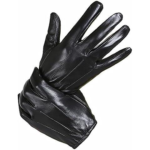 KHSKX Gli uomini di agnello di guanti in pelle e morbidi imbottiti di trasmissione moto warm touch screen guanti inverno breve,M,e